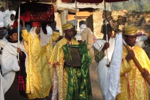 Kristen procession i Axum, Etiopien