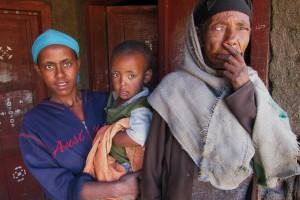 Etiopisk familj i Amhara